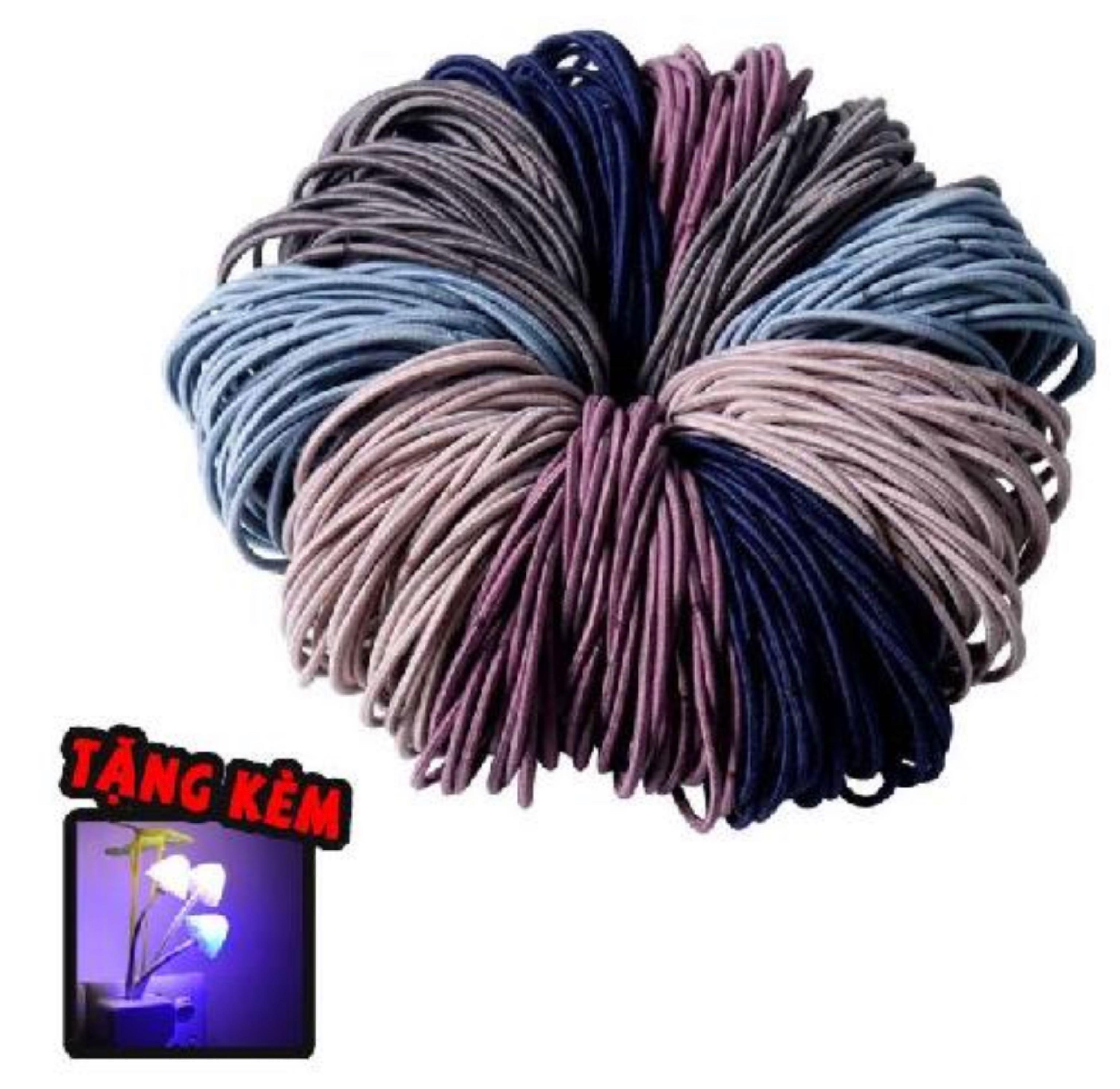 Set 100 chun buộc tóc tặng đèn ngủ hình nấm nhiều màu